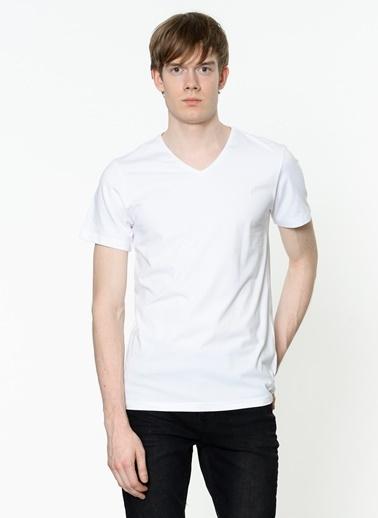 Lee Cooper V Yaka Tişört Beyaz